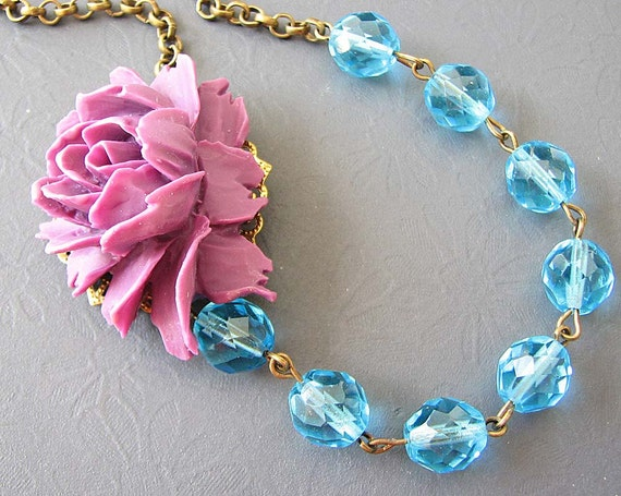 Statement Necklace Flower Necklace Crystal Necklace Purple Jewelry Turquoise Necklace Rose Jewelry Beaded Necklace Gift For Her