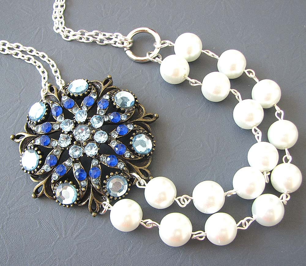 wedding jewelry statement necklace blue sapphire necklace. Black Bedroom Furniture Sets. Home Design Ideas