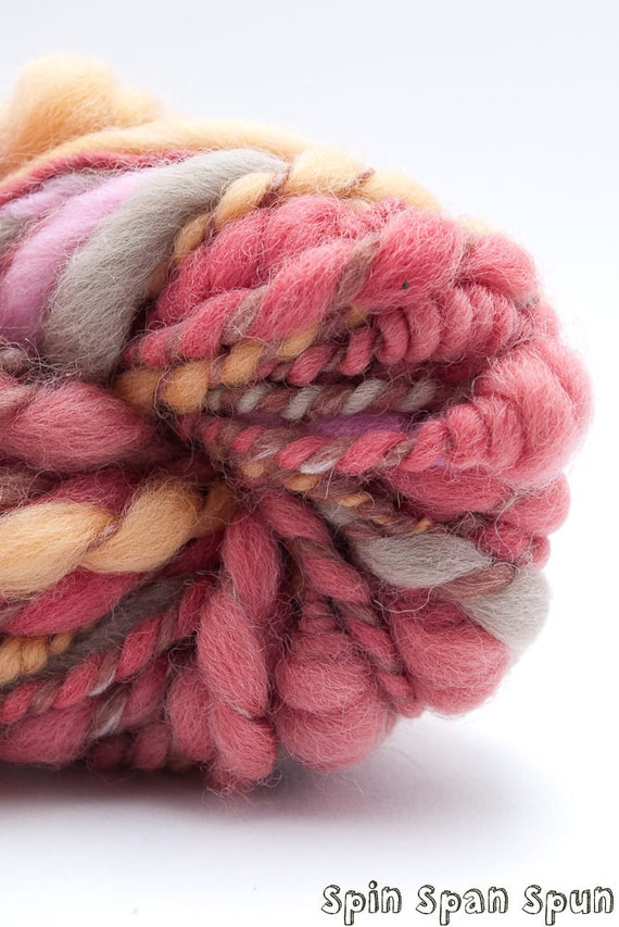 Petals, Naturally Dyed wool, CoilSpun BeeHive Art Yarn, HandSpun HandDyed Yarn, 40 yards