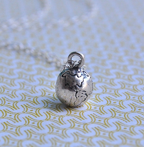 Globe World Charm Necklace - Sterling Silver