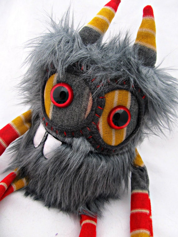 Plush Monster Cute Monster DENTON handmade plushie doll stuffed animal one of a kind