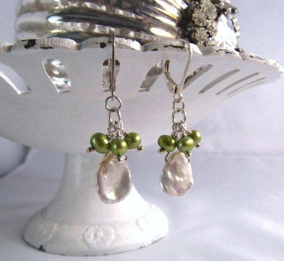 Spring Green and White Keishi Pearls SALE!