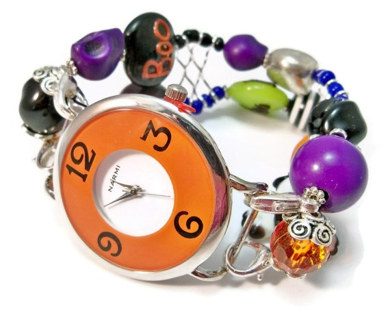 Halloween Jewelry Interchangeable Watch Band Ladies Halloween Watch Orange and Black with Halloween Beads