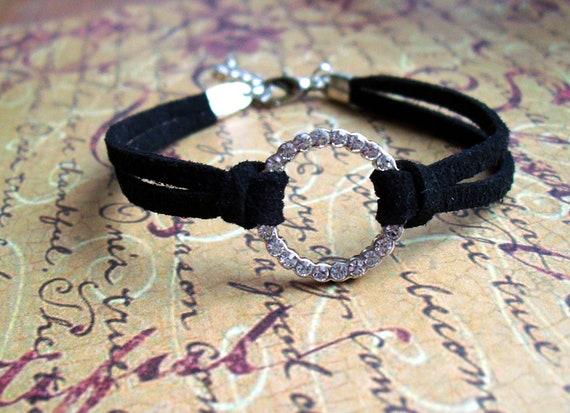 Karma Bracelet, Swarovski Crystal Circle Ring, Black Suede