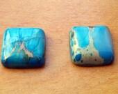 Blue Sea Sediment Jasper Square Cabochon Gemstone - 12mm x 12mm x 4mm - 1 CAB