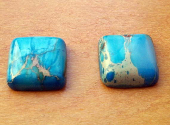 Blue Sea Sediment Jasper Square Cabochon Gemstone - 12mm x 12mm x 4mm - 1 CAB