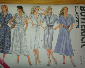 Dress with Skirt Bodice Sleeve Button Front Options Butterick 4734 14 16 18