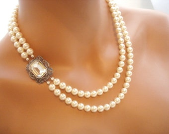 Bridal necklace, vintage style necklace, pearl necklace, wedding jewelry, Swarovski crystal and Swarovski pearls