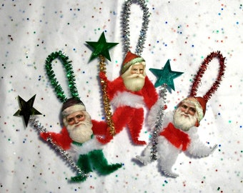 Vintage Style Chenille Santa Christmas Ornaments - Star Staff  set of three (7c)
