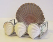 Stained Glass Business Card Holder - Shells and Purple Glass
