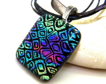 Turquoise Purple & Magenta DICHROIC Pendant-Focal- Fused Glass One of a Kind Leslie Dana