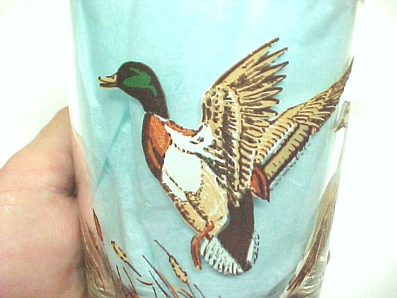 Gift for Him Mallard Duck Vintage On the Rocks Bar Glass Fall Autumn Scene Gifts for Him under 50.00