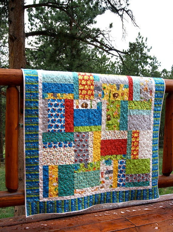 Quilt Colorful Bungle Jungle Baby Toddler HANDMADE Lap Crib