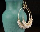 Pearl cluster earrings, handmade 14k gold filled hoop earrings, fringe hoop earrings, June birthstone, gold leverback earrings - Patience