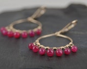 "Ruby earrings, handmade 14k gold filled hoop earrings, ""Ruby Odela"" July birthstone, secure leverback earrings"
