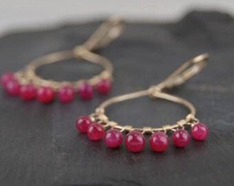 "Ruby earrings, handmade 14k gold filled hoop earrings, ""Ruby Odela"" July birthstone, secure leverback earrings"