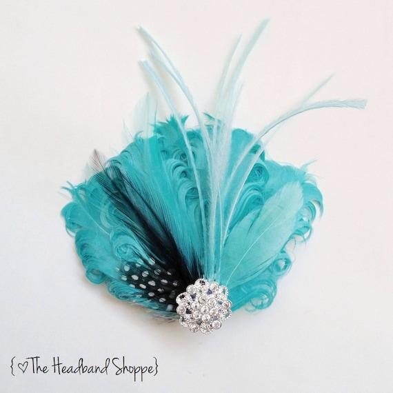 tiffany blue hair fascinator
