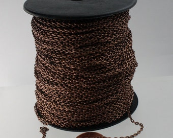 Antique Copper Chain Bulk Chain, 32 ft spool of Antique Copper Finished Round cable chain - Sturdy 3.0x2.1mm - unsoldered link