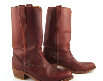 Dexter Cowboy Boots Vintage 1970s Dexter Whiskey Brown Leather Campus Boots Men's size 10