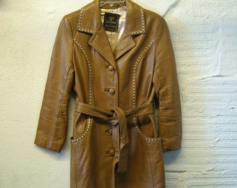Women's Leather Jacket Vintage 1970s Tan Brown Leather Trench Coat