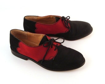 Oxford Shoes Leather Dark Blue Black and Red  Vintage 1960s Men's Neiman Marcus  size 8 1/2 M