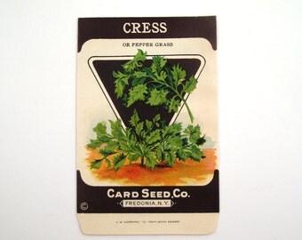 Vintage 1920s Unused Paper Seed Packet Cress