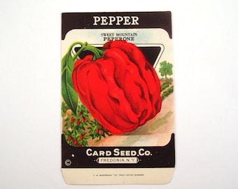 Vintage 1920s Unused Paper Seed Packet Pepper