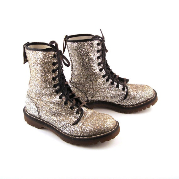 Glitter Doc Martens Boots Vintage 1990 Silver Glitter Doc Martens Boots UK Size 5