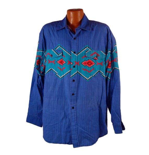 Men's Southwestern Shirt Vintage 1980s Western Plains Tribal Button Down Shirt XXL