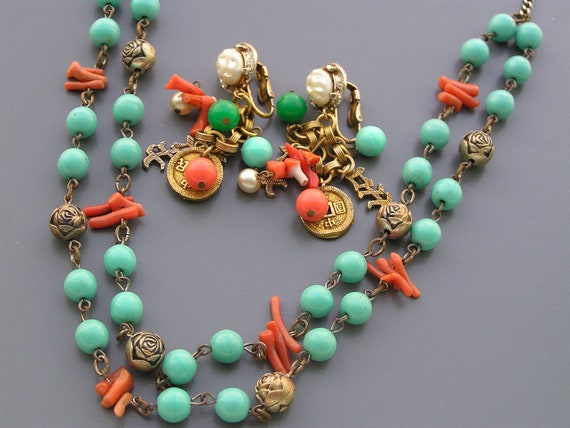 Reserved Vintage Faux Turquoise Coral Chinese Motif  Necklace Earrings