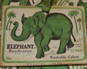 Elephant Bandannas Gift Tags