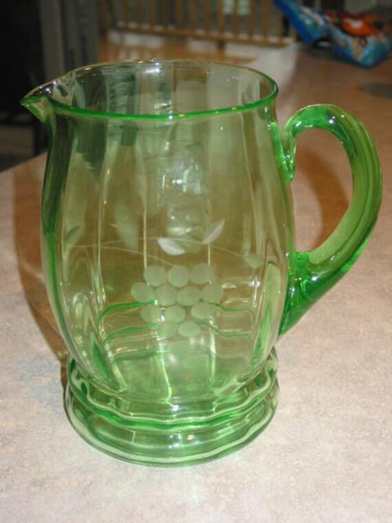 Gorgeous 72oz Uranium Green Depression Glass Pitcher Etched