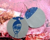 Starry Eye Ragdoll Screenprinted Leather Earrings