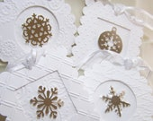White Winter Snowflake Christmas Tags Set of 4