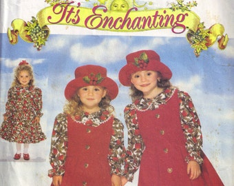 Girls Floopy Wide Brim Hat, Pinafore and Dirndl Skirt Drop Waist Dress Butterick 4163 Sewing Pattern Children Size 5 6 6x