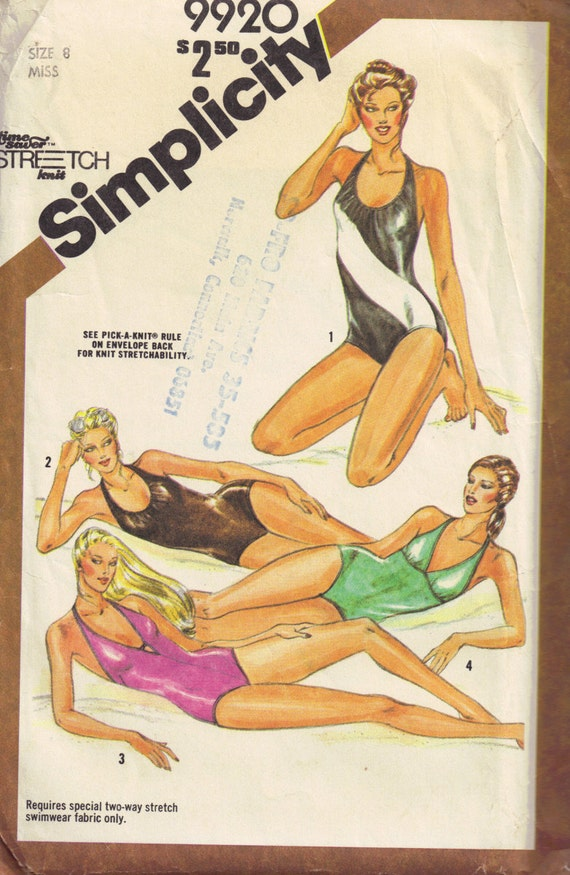 Simplicity 9920 Vintage 1981 Sewing Pattern, One Piece Swimming Bathing Suit Size 8 Bust 31.5 inch