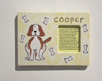 personalized hand painted photo frame for dog lovers
