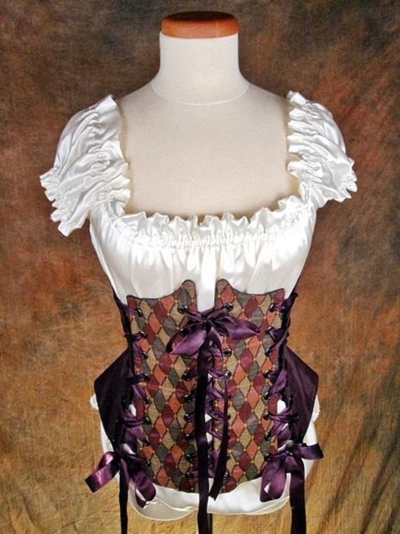 Multi-Diamond with Purple Stripes / Iridescent Green  - Renaissance Medieval waist cincher bodice Sz L