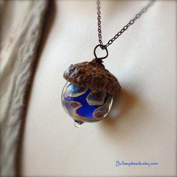 Glass Acorn Necklace - Raku Blues by Bullseyebeads