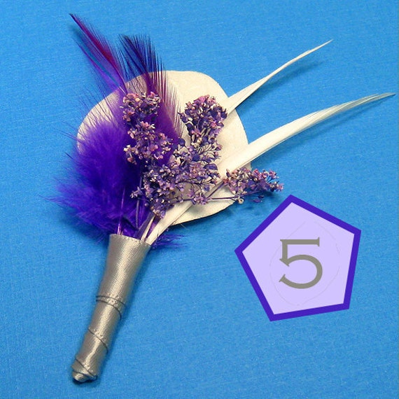 5 Feather Boutonniere, customizable, purple dried flowers, dried lavender, silk flower, silk leaf, garden, rustic