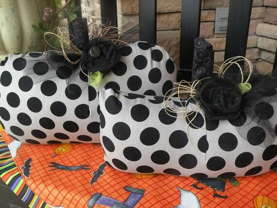 Halloween Polka Dot Fabric Pumpkin Set