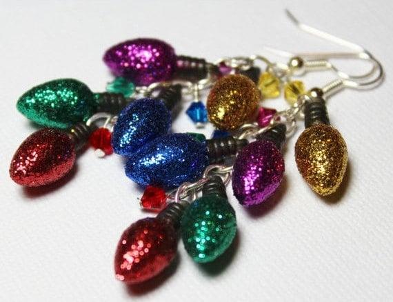 Handmade Beaded Jewelry Earrings Christmas Holiday Red Green Blue Purple Yellow Crystal Lightweight Long...Lights