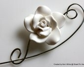 White Rose Scarf Pin, Shawl Pin, Jewelry Brooch - Medium Size White Polymer Clay Rose, Jewelry Brooches