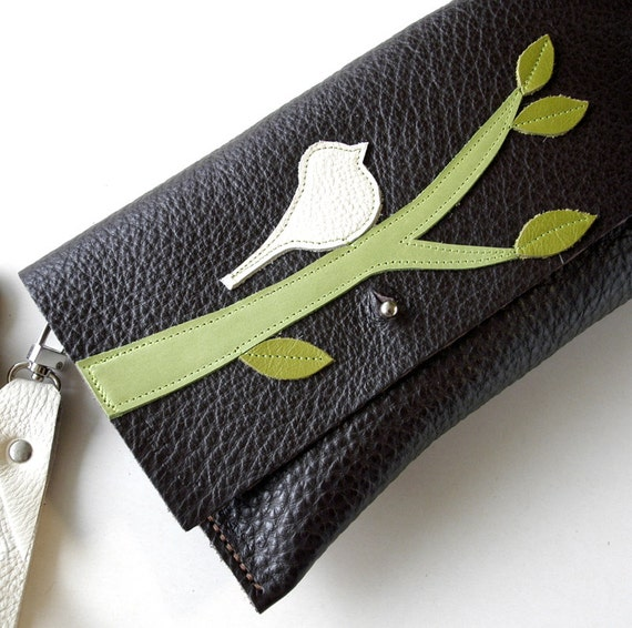 Leather Clutch Wristlet - RUSTIC - Buttercream Bird on Branch with Scattered Leaves