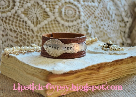 Vintage Hippie, Gypsy, Boho, Cowgirl Hand Stamped Silver Spoon Handle on Vintage Leather Cuff -Gypsy Lady-
