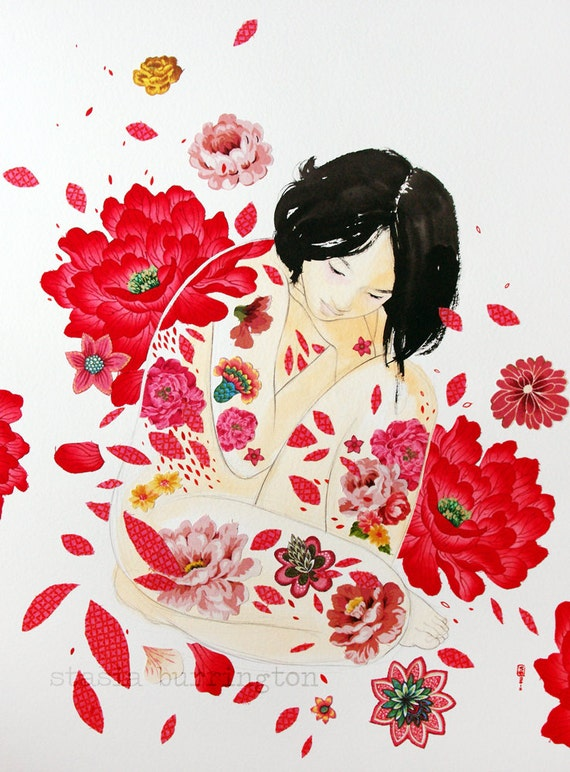 Red Petals - original mixed media fabric and paper collage