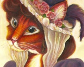 Cat Art, Orange Tabby Cat Wearing Victorian Easter Bonnet 5x7 Fine Art Print
