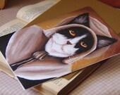 Pilgrim Cat Card, Colonial Puritan Tuxedo Cat CLEARANCE Greeting Card
