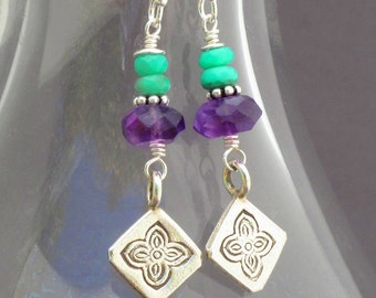 Amethyst Chrysoprase Thai Hill Tribe Silver Earrings - Meadow