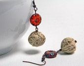 Ecru cotton yarn beads earrings, yarn balls, copper earwires, beaded earrings, eco friendly
